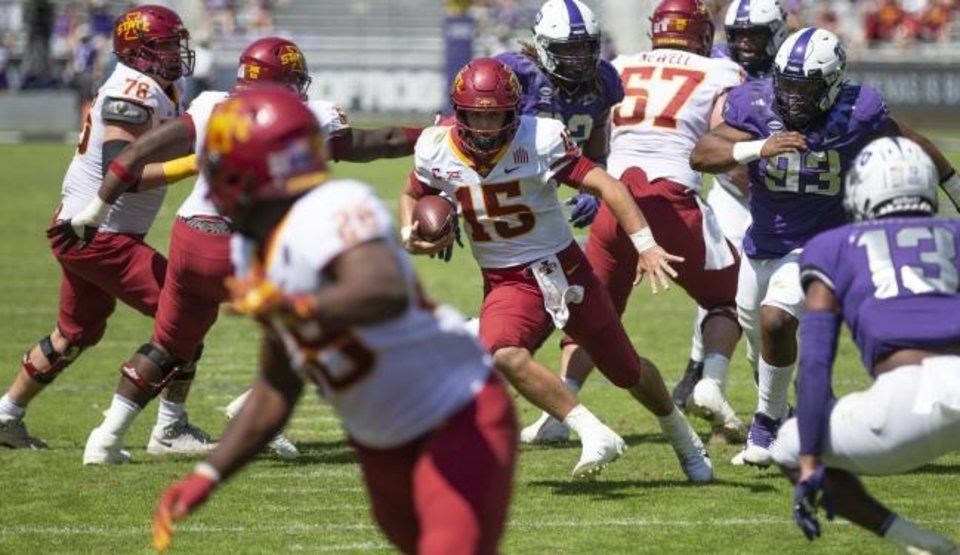 Photo -  Iowa State quarterback Brock Purdy (15) carries the ball during the Cyclones' 37-34 win at TCU on Saturday. [AP Photo/Brandon Wade]