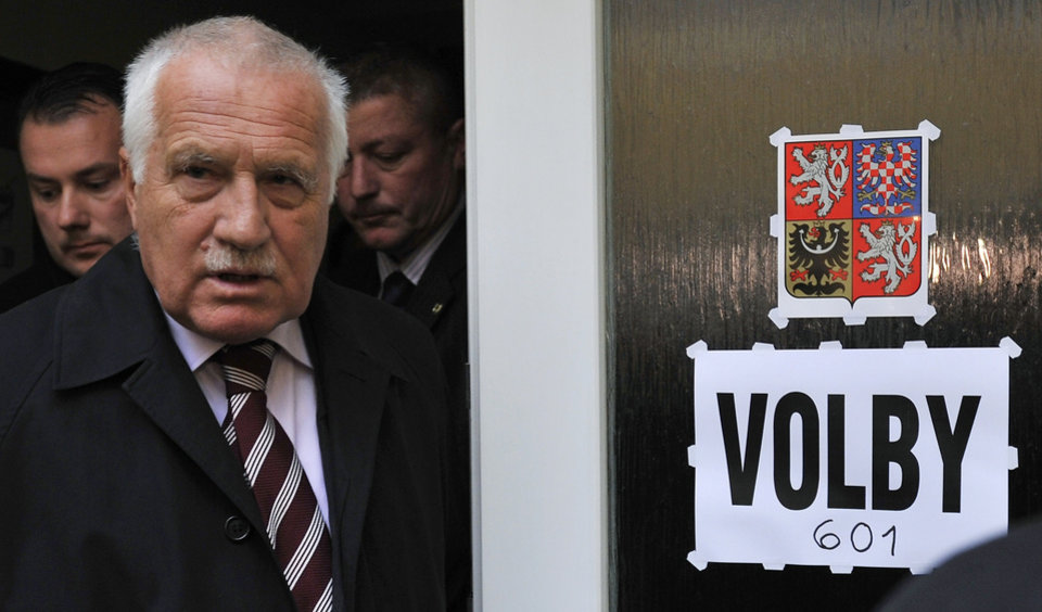 Photo - Czech President Vaclav Klaus prepares to cast his ballot at a polling station in Prague, Czech Republic, Friday Oct. 12, 2012, on the first day of elections to the regional assemblies and the first round of the elections to one-third of the Senate, the upper house of parliament. Vaclav Klaus told journalists that granting of the Nobel Peace Prize to the European Union is a tragic mistake, adding that the award is to go to a particular person, not to a bureaucratic institution. In his first reaction to the information on the award for the EU today, Klaus said he cannot believe this and that it must be a joke. (AP Photo/Michal Kamaryt, CTK) SLOVAKIA OUT ORG XMIT: CTK802