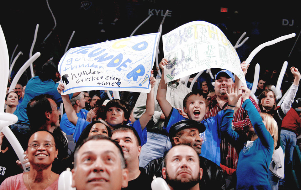 Photo - Oklahoma City Thunder fans could make the team one of only three to have a season-ticket waiting list for next season. Photo by Bryan Terry, The Oklahoman