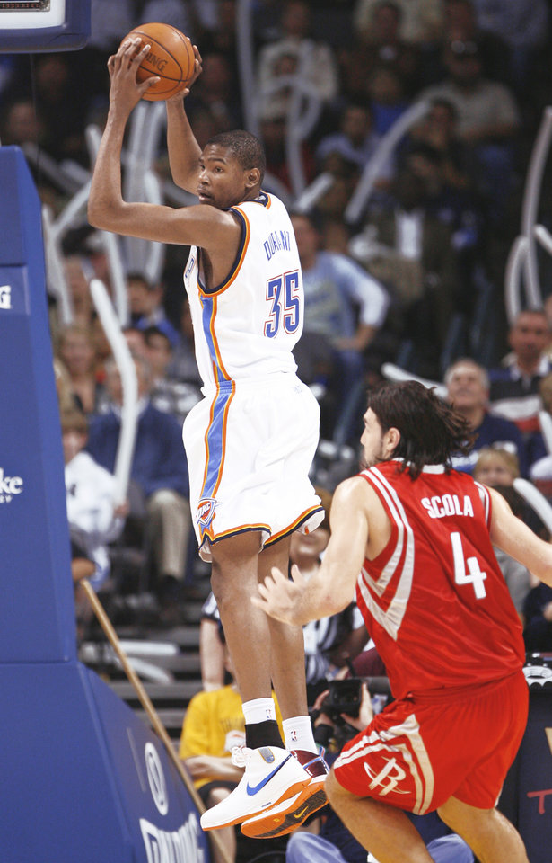 Kevin Durant comes up with a defensive rebound in the second half Friday. Photo by Steve Sisney, The Oklahoman
