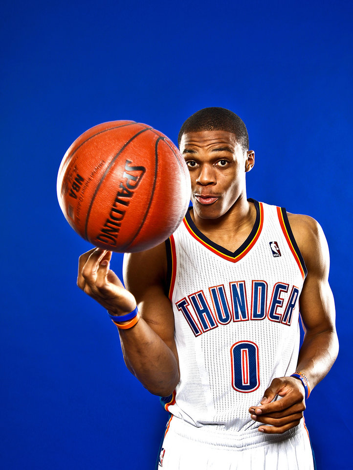 NBA BASKETBALL TEAM:  RUSSELL WESTBROOK poses for a photo during the Oklahoma City Thunder media day on Monday, Sept. 27, 2010, in Oklahoma City, Okla.   Photo by Chris Landsberger, The Oklahoman ORG XMIT: KOD