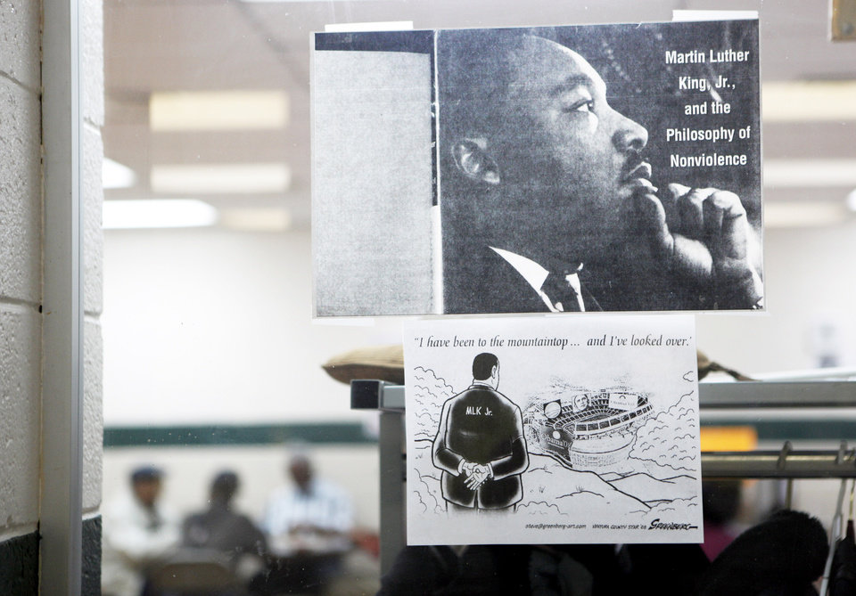A poster depicting Martin Luther King Jr. hangs on a window at the  Lincoln Park Senior Center, 4712 N Martin Luther King Ave.  PHOTOs BY SARAH PHIPPS, THE OKLAHOMAN