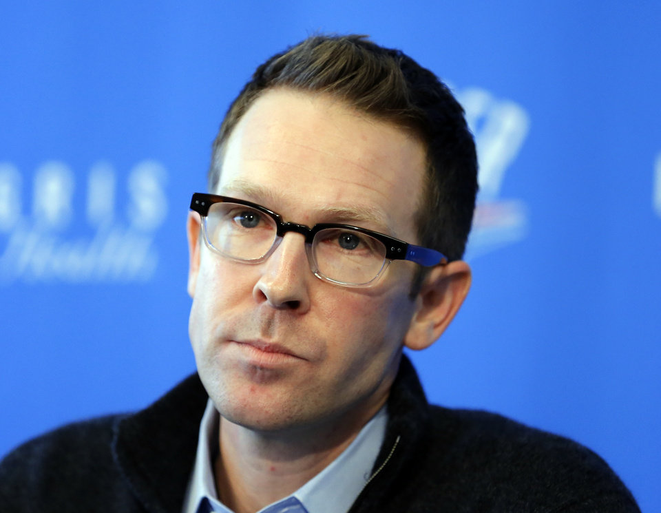 Photo - Sam Presti, Oklahoma City general manager, speaks during a press conference after trades with Houston at the Integris Health Thunder Development Center in Oklahoma City, Sunday, Oct. 28, 2012. Photo by Sarah Phipps, The Oklahoman