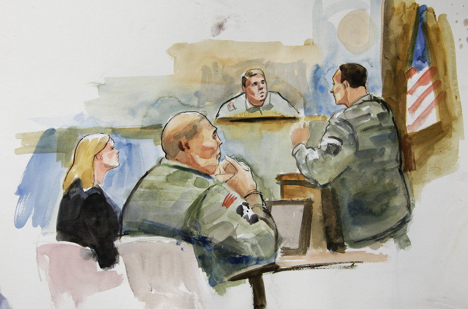 Photo -   In this courtroom sketch, U.S. Army Staff Sgt. Robert Bales, second from left, sits next to Emma Scanlan, left, his civilian attorney, as they listen to military prosecutor Maj. Rob Stelle, right, make his closing statements to Investigating Officer Col. Lee Deneke, second from upper right, Tuesday, Nov. 13, 2012 on the final day of a preliminary hearing for Bales at Joint Base Lewis McChord in Washington state. Bales is accused of 16 counts of premeditated murder and six counts of attempted murder for a pre-dawn attack on two villages in Kandahar Province in Afghanistan in March, 2012. (AP Photo/Lois Silver) TV OUT