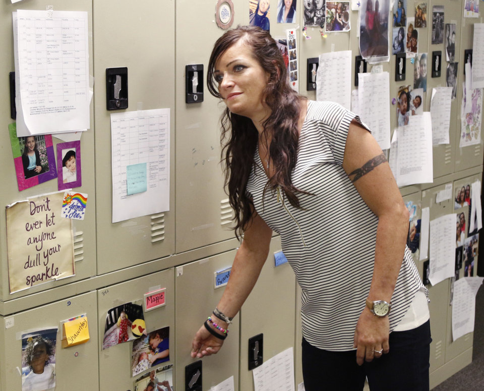 Photo -  Brandi Davis participates in ReMerge, a program that helps women stay sober and avoid prison. [Photo by Paul Hellstern, The Oklahoman]