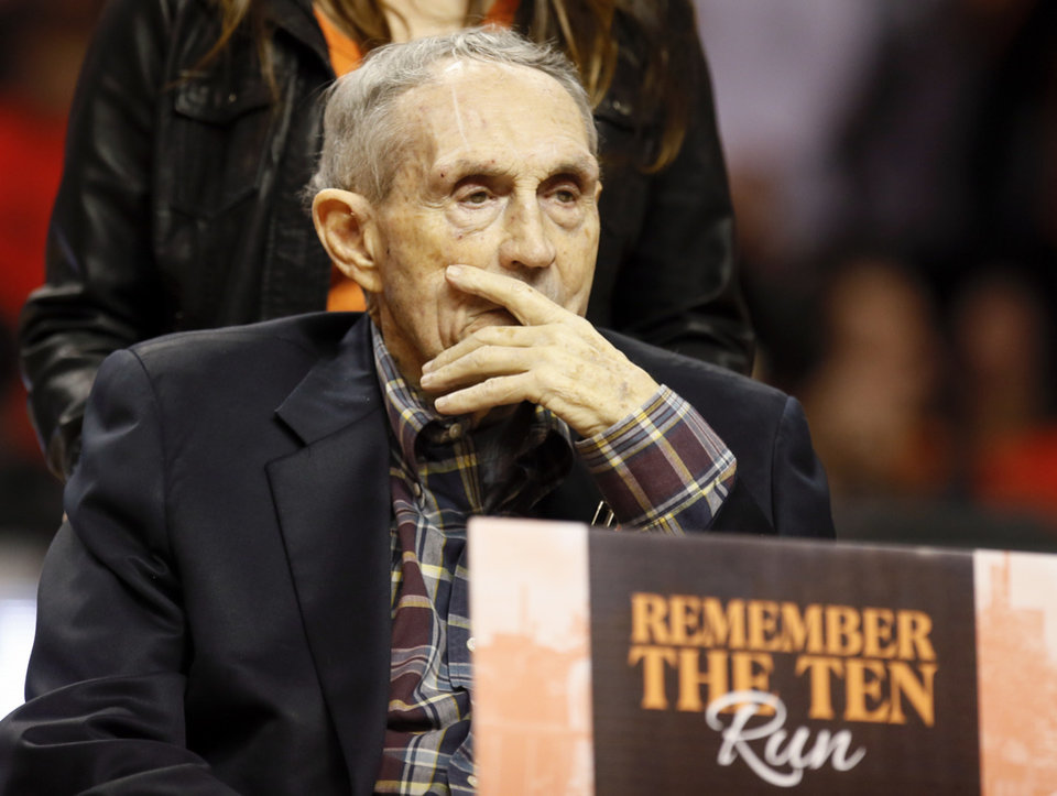 Photo - Former OSU head coach Eddie Sutton during a Remember the Ten presentation before a Bedlam men's basketball game between the Oklahoma Sooners (OU) and the Oklahoma State Cowboys (OSU) at Gallagher-Iba Arena in Stillwater, Okla., Saturday, Jan. 20, 2018. Photo by Nate Billings, The Oklahoman