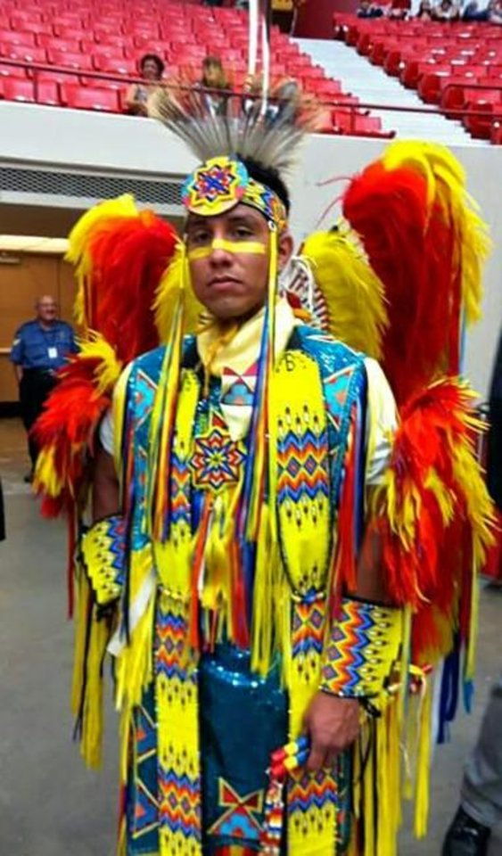 Photo -  Joseph E. Bointy is shown in Native American regalia. Bointy is the 2019 recipient of the Oklahoma Indian Nurse Scholarship, awarded by the National Society of Colonial Dames of America in the state of Oklahoma. [PHOTO PROVIDED]