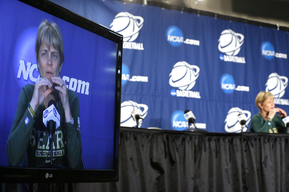Photo - Baylor head coach Kim Mulkey speaks during the press conference and practice day at the Oklahoma City Regional for the NCAA women's college basketball tournament at Chesapeake Energy Arena in Oklahoma City, Saturday, March 30, 2013. Photo by Sarah Phipps, The Oklahoman