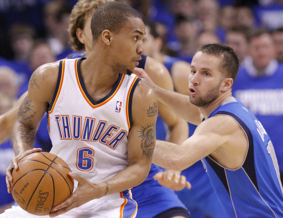 Oklahoma City's Eric Maynor (6) looks for room past Jose Barea (11) of Dallas  during game 3 of the Western Conference Finals of the NBA basketball playoffs between the Dallas Mavericks and the Oklahoma City Thunder at the OKC Arena in downtown Oklahoma City, Saturday, May 21, 2011. Photo by Chris Landsberger, The Oklahoman