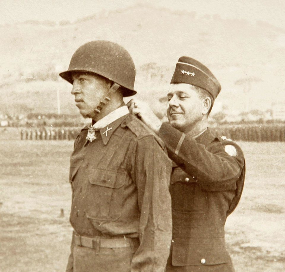 Photo - This archive photo  shows 2nd Lt. Ernest Childers being awarded the Medal of Honor  in 1944.
