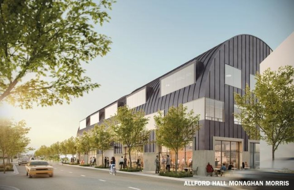 Photo -  A three-story office and retail building, shown in this rendering, is set to be constructed at Wheeler in early 2020. [Allford Hall Monaghan Morris rendering]