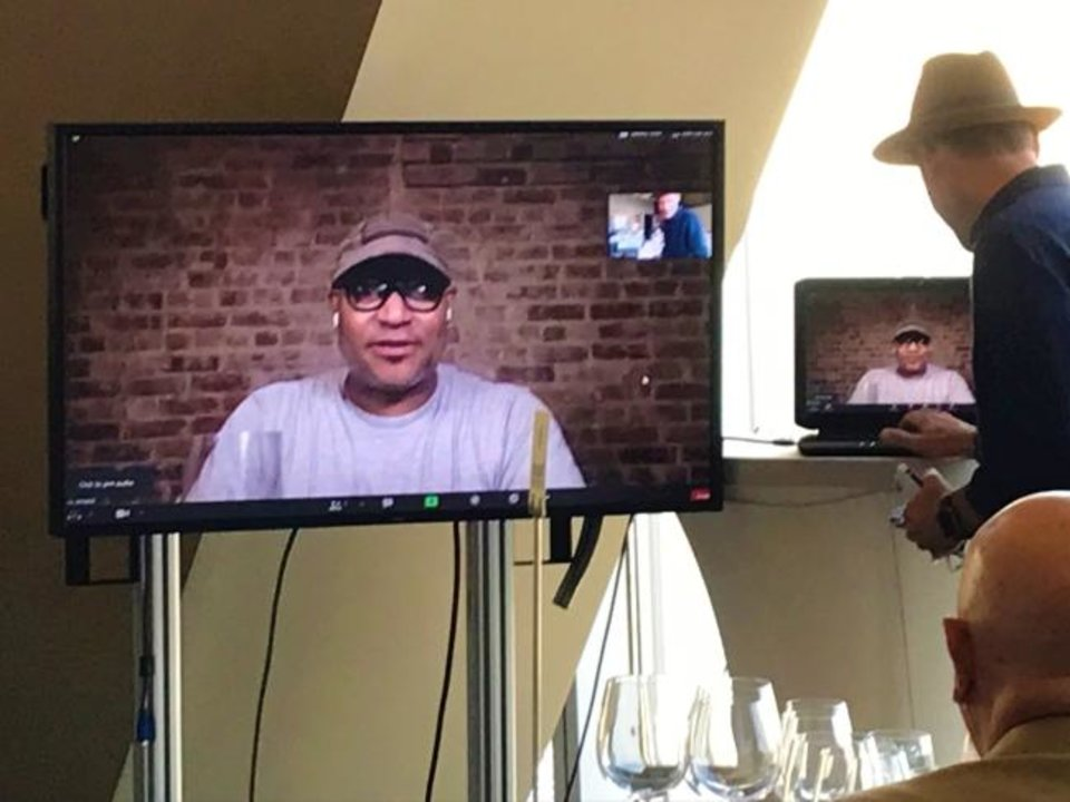 Photo -  Winemaker Andre Mack appeared via Zoom conference from Brooklyn during a wine dinner at Vast in Oklahoma City. [Dave Cathey/The Oklahoman]