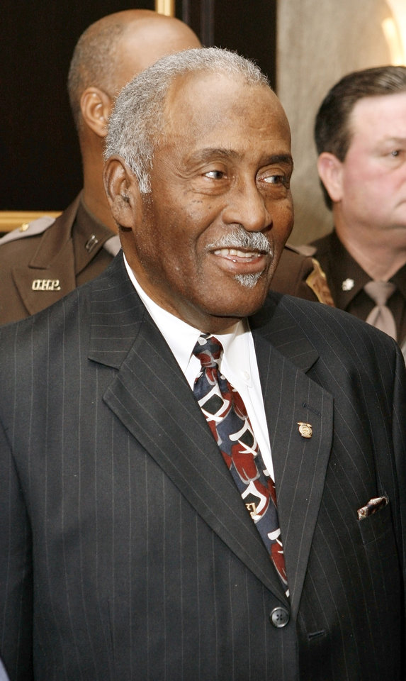 Retired Oklahoma Highway Patrol trooper Ronald Johnson in the Oklahoma House of Representatives lounge at the state Capitol in Oklahoma City Thursday, Feb. 7, 2008. Johnson was the first black OHP trooper in Oklahoma. BY PAUL B. SOUTHERLAND, THE OKLAHOMAN