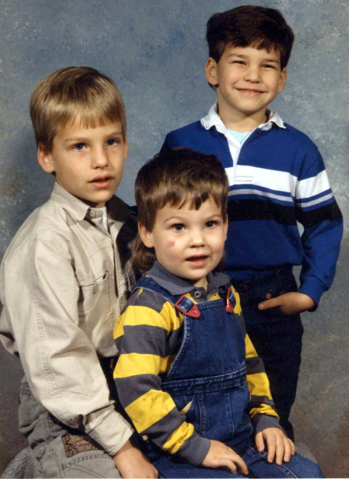 From the left, Michael, Curtis and Brett Behenna, photo taken around 1990. Photo provided by the Behenna Family