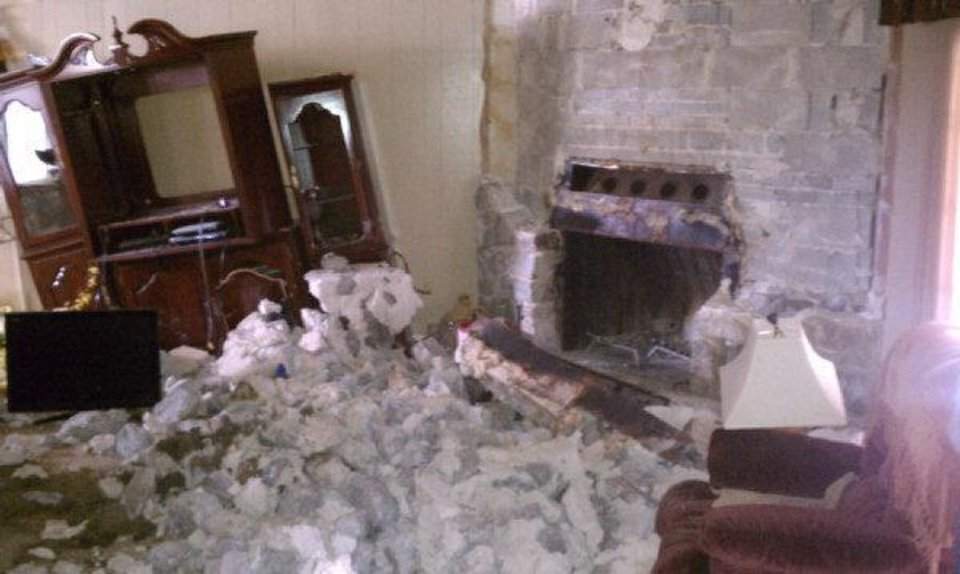Photo - Lincoln County Emergency Manager Joey Wakefield said he's seen several homes that received damage in the 5.6 earthquake after their brick fireplaces crumbled.  JOEY WAKEFIELD - Courtesy of
