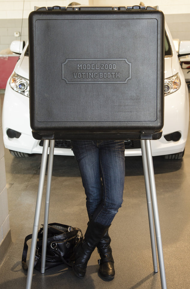 An unidentified person votes at a polling place located inside a car dealership in La Vista, Neb., Tuesday, Nov. 6, 2012. (AP Photo/Nati Harnik)