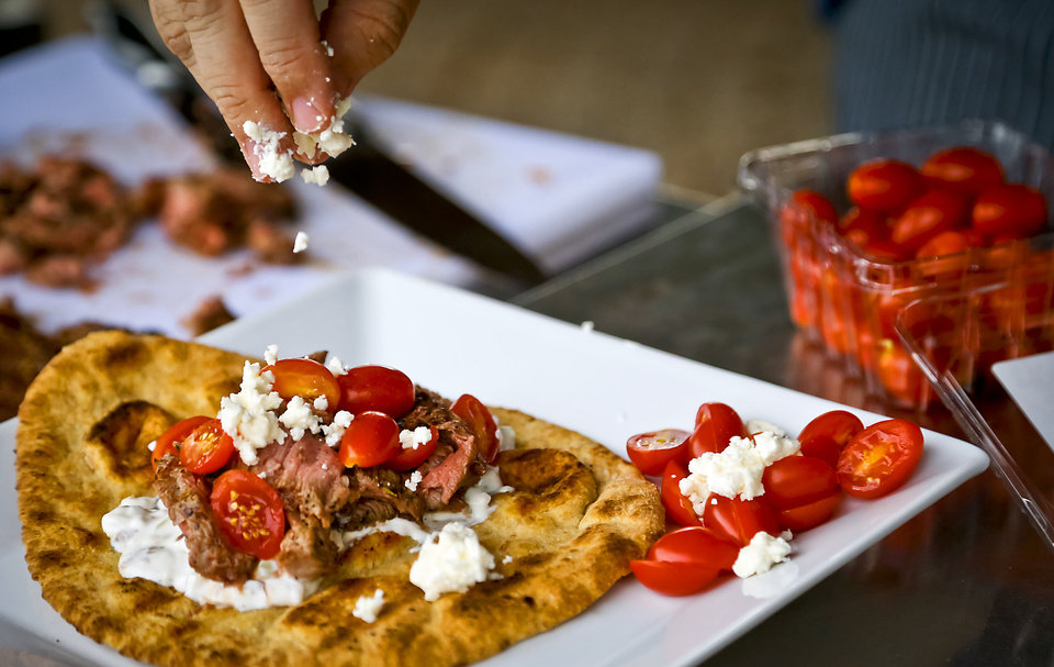 Photo - Healthy Gyro for a tailgate cookout. Photo by Chris Landsberger, The Oklahoman  CHRIS LANDSBERGER - CHRIS LANDSBERGER