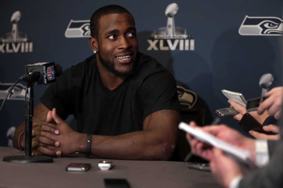Photo - Seattle Seahawks safety Kam Chancellor answers questions during a news conference Monday, Jan. 27, 2014, in Jersey City, N.J. The Seahawks and the Denver Broncos are scheduled to play in the Super Bowl XLVIII football game Sunday, Feb. 2, 2014. (AP Photo/Jeff Roberson)