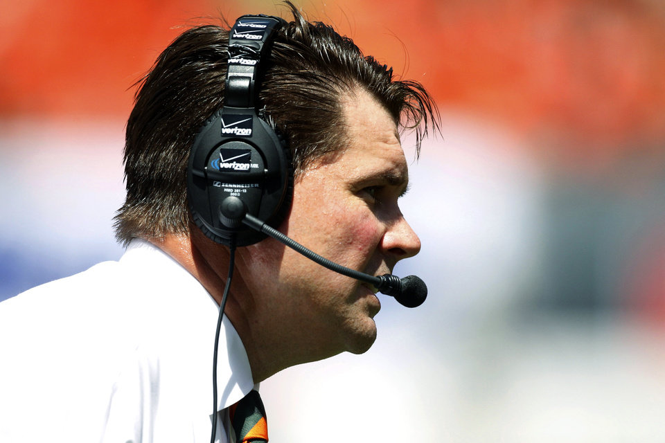 Photo -   Miami head coach Al Golden watches from the sideline in the first half of an NCAA college football game against Bethune-Cookman, Saturday Sept. 15, 2012, in Miami. (AP Photo/Wilfredo Lee)