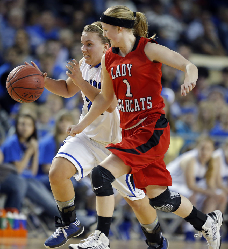 Lomega's Ashley LaGasse runs up court as Erick's Makenzie Janz defends during the Class B girls state championship between Erick and Lomega at the State Fair Arena., Saturday, March 2, 2013. Photo by Sarah Phipps, The Oklahoman