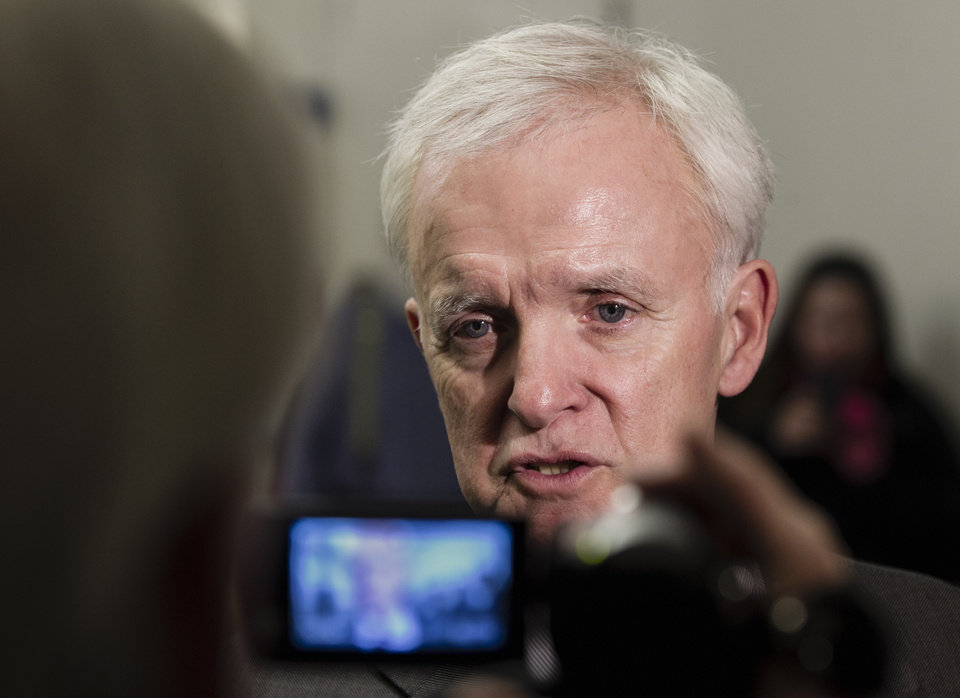 Democratic Senate candidate Bob Kerrey speaks during a media availability after he spoke to students at the University of Nebraska at Omaha, in Omaha, Neb., Monday, Nov. 5, 2012. Kerrey is running against Republican candidate Deb Fischer. (AP Photo/Nati Harnik)