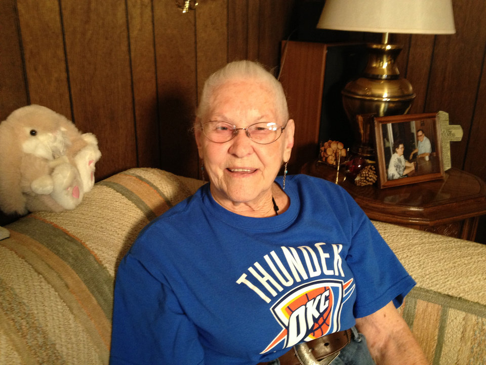 Leola Boyd loved James Harden�s game so much she offered to take up a collection to keep the guard in OKC. Now that he�s gone, she vows to keep watching the Thunder. Photo by Damon Fontenot, The Oklahoman