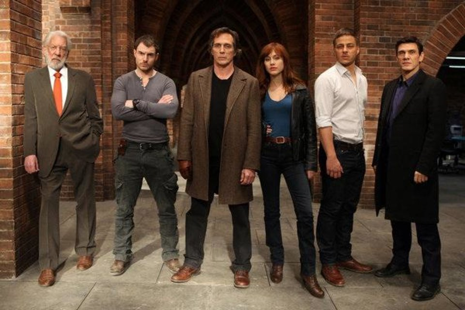 CROSSING LINES -- Season: 1 -- Pictured: (l-r) Donald Sutherland as Dorn, Richard Flood as Tommy McConnel, William Fichtner as Carl Hickman, Gabriella Pession as Eva Vittoria, Tom Wlaschiha as Sebastian Berger and Marc Lavoine as Louis Bernard -- (Photo by: Dusan Martincek/NBC)