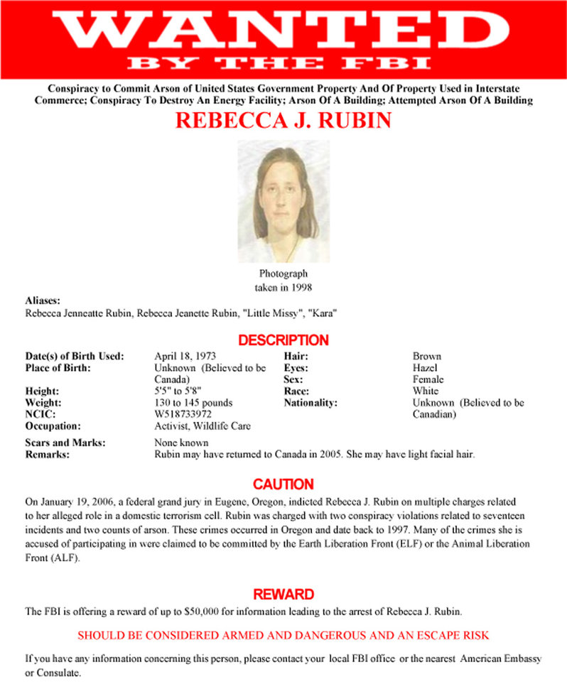 Photo - This undated wanted poster from the FBI shows Rebecca Rubin, who turned herself in to authorities on the Washington-Canada border on Thursday, Nov. 29. 2012. Authorities said Rubin is one of three remaining fugitives from a cell of the Earth Liberation Front known as The Family and based in Eugene, Ore. Ten others from the gorup have been convicted in a string of 20 arsons across the West from 1996 to 2001 that caused $40 million in damages. (AP Photo/FBI)