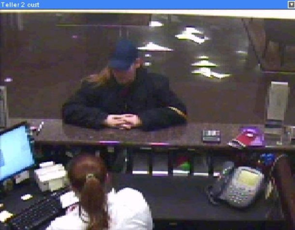 "James E. Finch, Special Agent in Charge of the Federal Bureau of Investigation in Oklahoma, announces today's robbery of the IBC Bank located at 7723 N.W. 23rd Street, Bethany, Oklahoma.   At approximately 5:52 p.m. this afternoon, an unknown white female entered the bank and approached a teller at the teller counter.  The female presented a note that stated ""I'm armed. Give me all your money. Don't hit the alarm. No bait bills and don't call the police until I leave."" The bank teller complied with the demand and gave the robber an undisclosed amount of cash.  The robber gathered the money and was last seen heading west on N.W. 23rd Street.  She was seen in a black in color, possibly a 1998 model Toyota Camry with tinted windows.  The vehicle's emblem and writing on the vehicle describing it was gold in color.   The robber was described as a white female with long, dirty blond hair. She wore a blue baseball style cap, a dark green winter coat and dark pants.  She was using a flip type cell phone.    This robbery is being investigated by the FBI and the Bethany Police Department.  Anyone with any information about this robbery may call the FBI at (405) 290-7770 (24-hour number).  Callers may remain anonymous.  The Oklahoma Banker's Association offers a reward of up to $2,000 for any information leading to the identification and/or arrest of any person robbing a member bank."