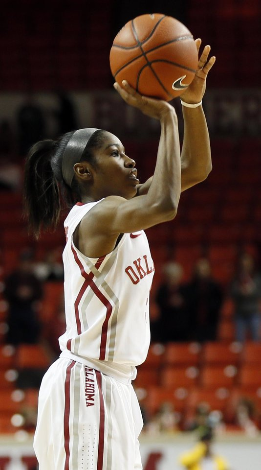 Photo - Oklahoma's Aaryn Ellenberg (3) shoots during a women's college basketball game between the Oklahoma Sooners and Texas Tech at Lloyd Noble Center in Norman, Okla., Monday, March 3, 2014. OU won 87-32. Photo by Nate Billings, The Oklahoman