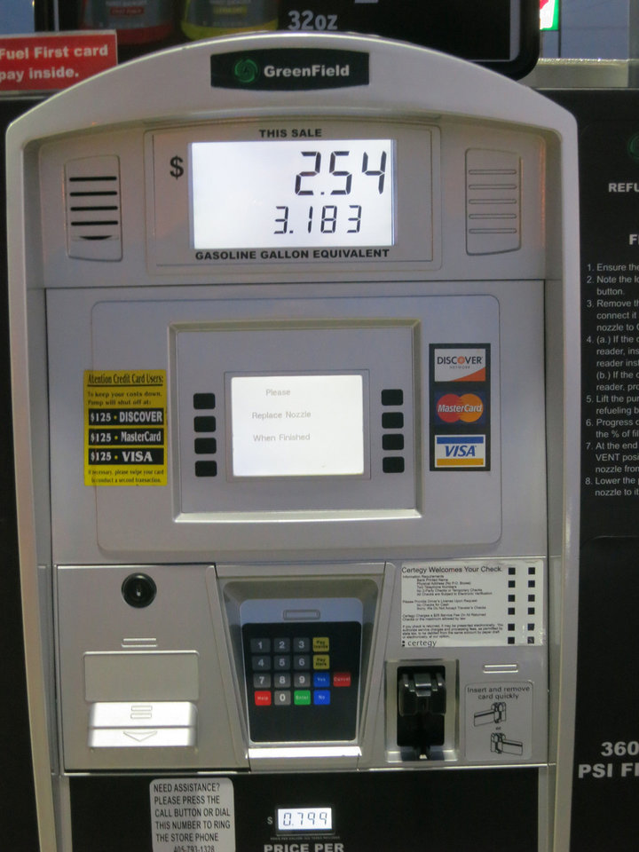 Adam Wilmoth?s recently purchased CNG-powered Honda Civic. Here the price is shown for his fuel purchase. PHOTO BY ADAM WILMOTH, THE OKLAHOMAN <strong></strong>