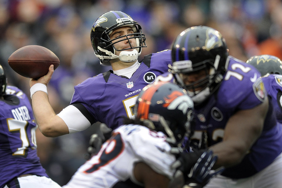 Photo - Baltimore Ravens quarterback Joe Flacco passes the ball during the first half of an NFL football game against the Denver Broncos in Baltimore, Sunday, Dec. 16, 2012. (AP Photo/Nick Wass)