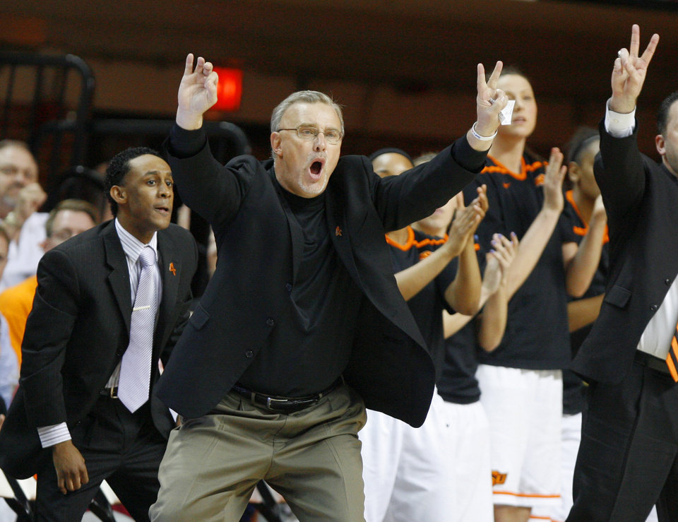 Oklahoma State coach Jim Littell shouts during the women's NIT semifinal college basketball game between Oklahoma State University (OSU) and San Diego at Gallagher-Iba Arena in Stillwater, Okla., Wednesday, March 28, 2012. Oklahoma State won 73-57. Photo by Bryan Terry, The Oklahoman