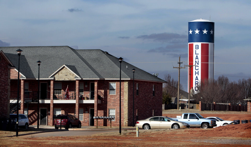 Apartments and a distinctive water tower on the north side of town on Wednesday, Jan. 11, 2012, in Blanchard, Okla.   Photo by Steve Sisney, The Oklahoman