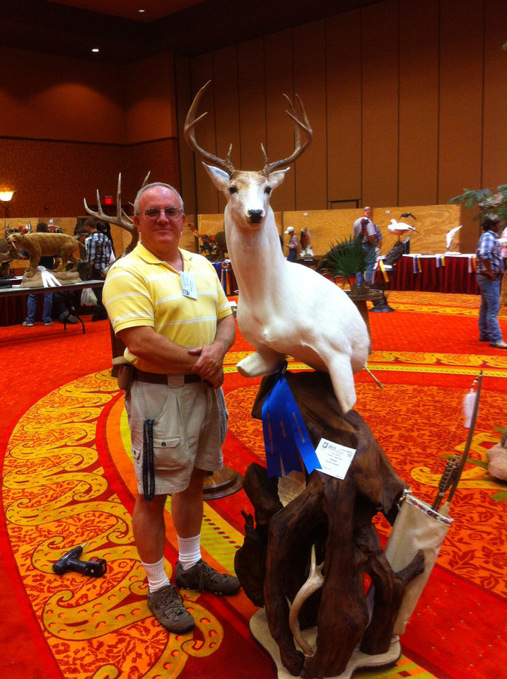 Danny Keener's white buck mount won first place at the National Taxidermists Assocation contest. Photo provided