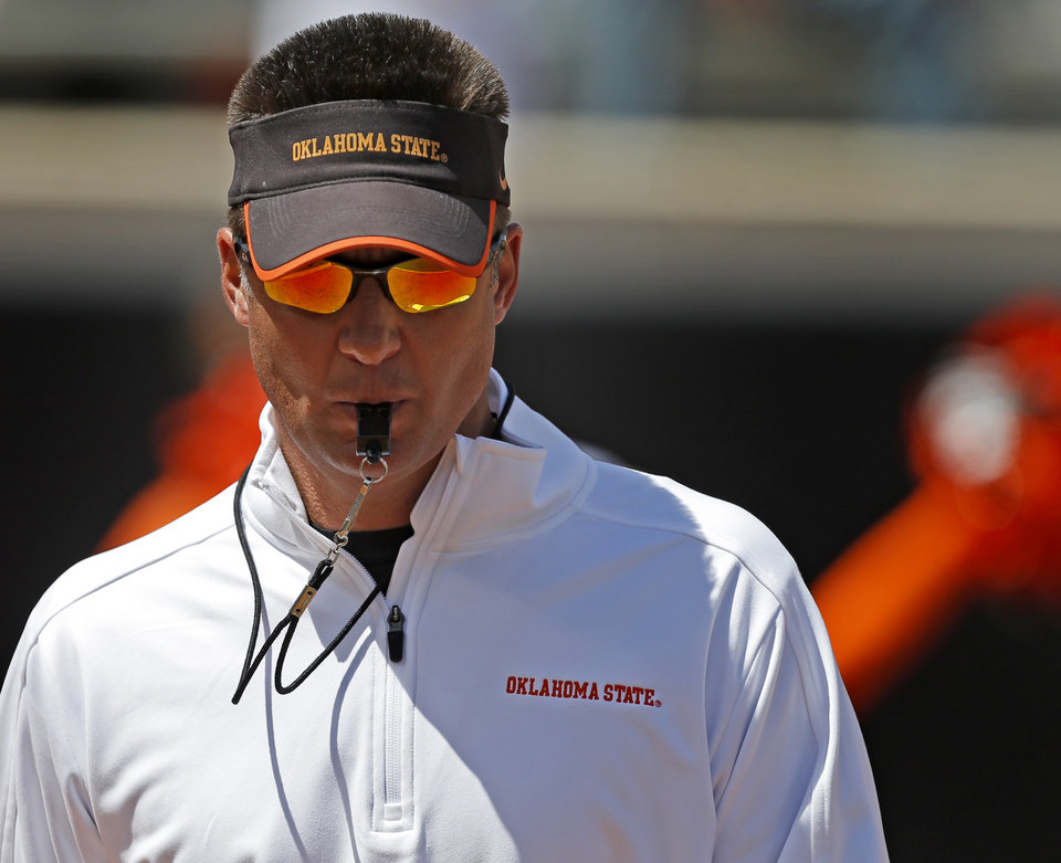 Oklahoma State's coach Mike Gundy watches during OSU's spring football game at Boone Pickens Stadium in Stillwater, Okla., Sat., April 20, 2013. Photo by Bryan Terry, The Oklahoman