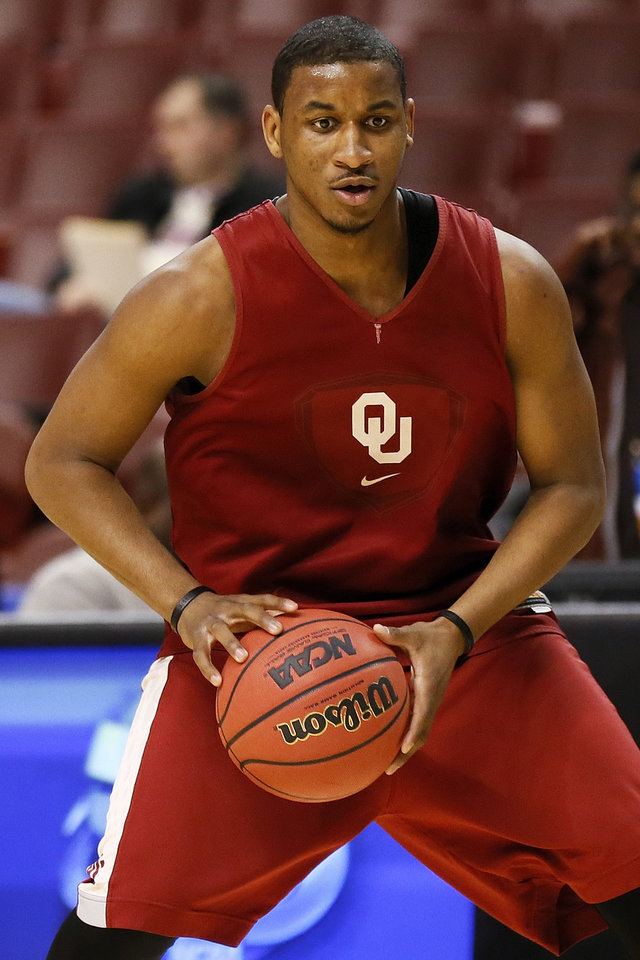 Oklahoma's Steven Pledger (2) prepares to shoot during the practice and press conference day for the second round of the NCAA men's college basketball tournament at the Wells Fargo Center in Philadelphia, Thursday, March 21, 2013. OU will play San Diego State in the second round on Friday. Photo by Nate Billings, The Oklahoman