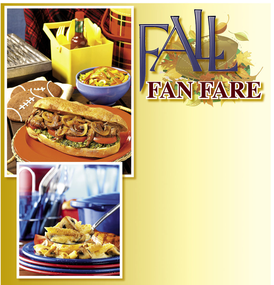 Photo - FOOTBALL GAME / TAILGATING PARTY / FALL FAN FARE GRAPHIC with photos: 1) Heat up game day with Smoky Steak Sandwiches With Chipotle-Pesto Sauce, Five-Alarm Pepper Slaw and Kickin' Chocolate-Cherry Cookies. PHOTO PROVIDED; 2) Perfect for tailgating, Mushroom 'n' Beer Mac 'n' Cheese casserole can be cooked at home then toted to the game. PHOTO PROVIDED (photos unavailable)
