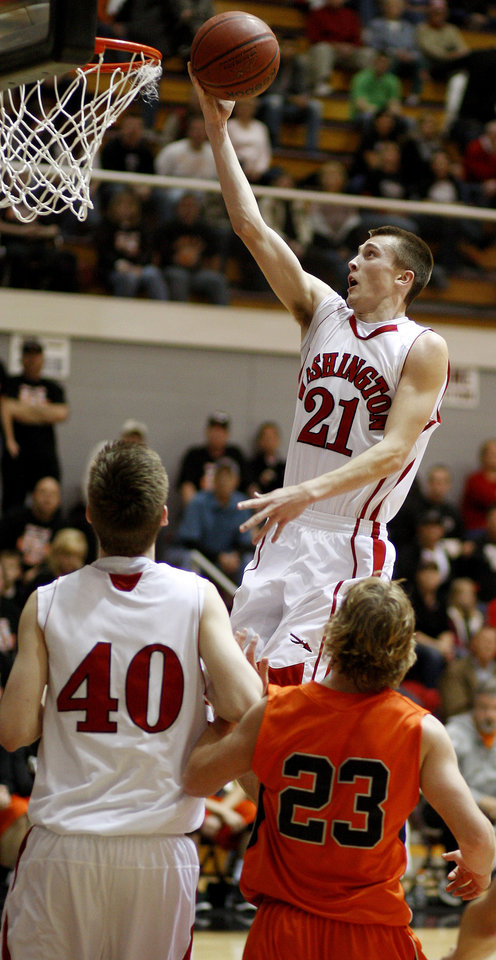 Washington's Cal Andrews (21) against Sperry during a Class 3A boys basketball state tournament game at Southern Nazarene University in Bethany, Okla., Thursday, March 8, 2012. Photo by Bryan Terry, The Oklahoman