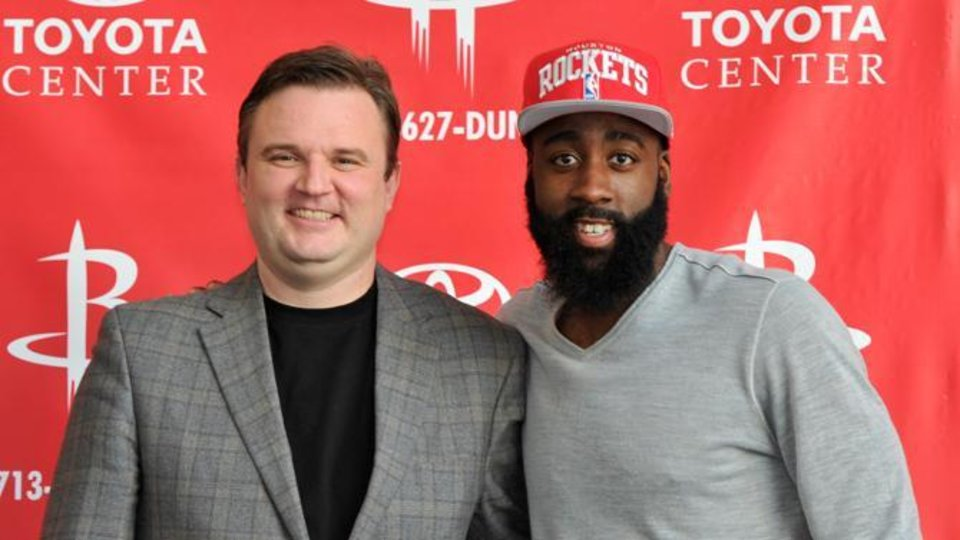 James Harden at his introductory press conference / via HoustonRockets.com