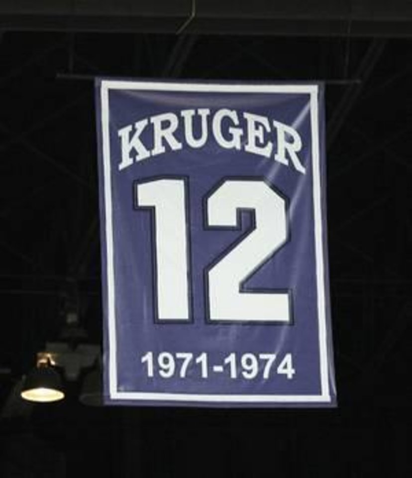 OU coach Lon Kruger's number hangs from the rafters at Bramlege Coliseum, where the Sooners will play Saturday. Kruger starred at Kansas State from 1971-74. He was a two-time Big Eight Player of the Year. AP photo