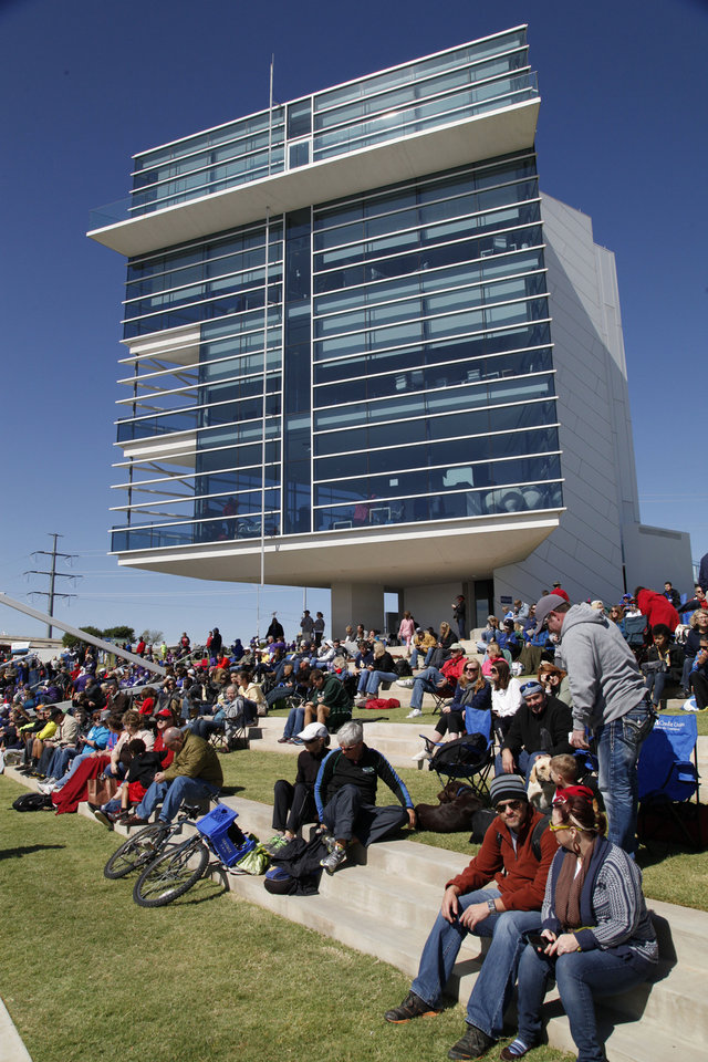 Spectators watch the Oklahoma Regatta Festival on the Oklahoma River in front of the finish line in Oklahoma City, OK, Saturday, October 5, 2013,  Photo by Paul Hellstern, The Oklahoman