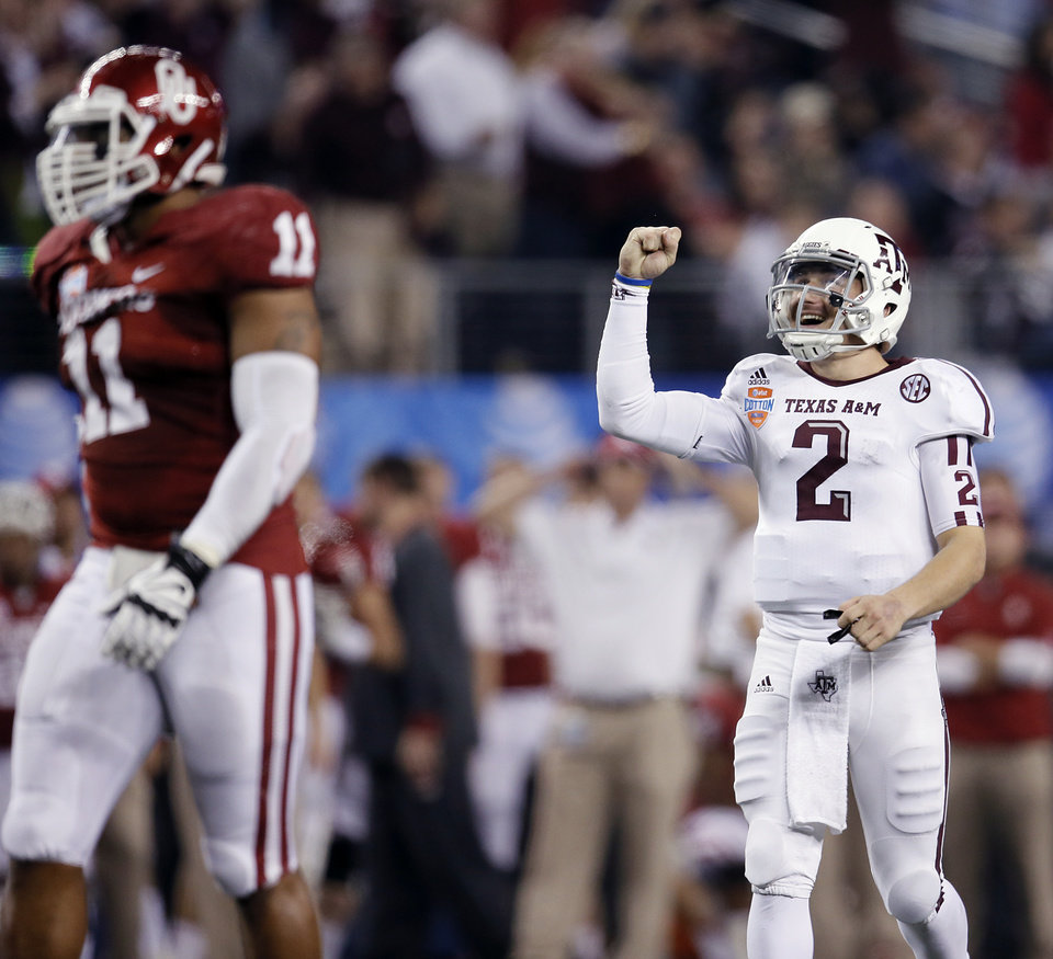 Texas A&M's Johnny Manziel (2) reacts after a touchdown during the college football Cotton Bowl game between the University of Oklahoma Sooners (OU) and Texas A&M University Aggies (TXAM) at Cowboy's Stadium on Friday Jan. 4, 2013, in Arlington, Tx. Photo by Chris Landsberger, The Oklahoman
