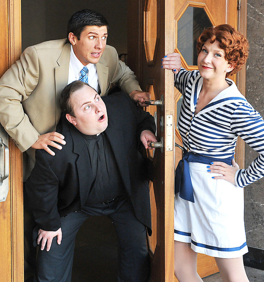 "Photo - Dallas Lish (as Billy Crocker), Justin Larman (Moonface Martin) and Renee Anderson (Reno Sweeney) head the cast of  ""Anything Goes."" Photo provided by Wendy Mutz"