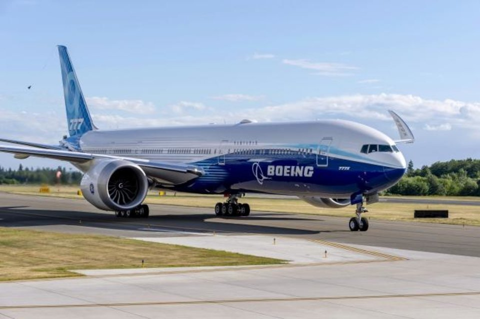 Photo -  Boeing's 777-9, the longest commercial jet in production, performs a taxi test in this undated photo provided by Boeing. [PHOTO PROVIDED]