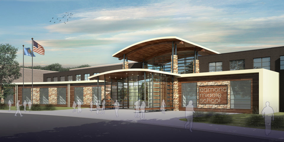 A preliminary concept design of what Edmond's new middle school will look like if the bond is passed on Feb. 12. The new middle school will be the sixth in the district. Images provided by Edmond Public Schools