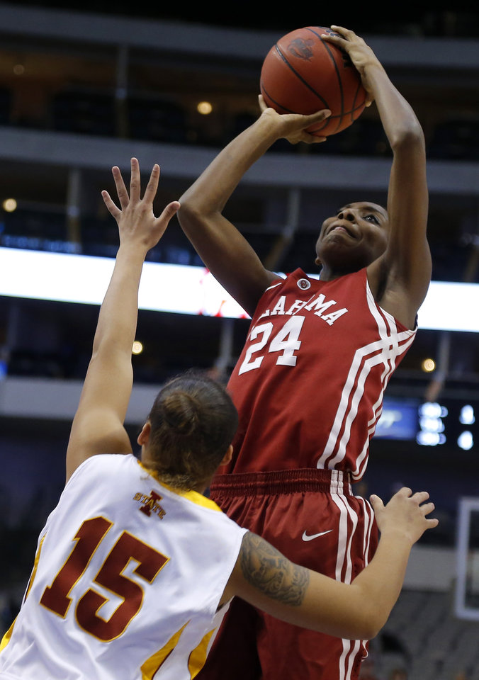 Photo - Oklahoma's Sharane Campbell (24) shoots the ball over Iowa State's Kidd Blaskowsky (15) during the Big 12 tournament women's college basketball game between the University of Oklahoma and Iowa State University at American Airlines Arena in Dallas, Sunday, March 10, 2012.  Oklahoma lost 79-60. Photo by Bryan Terry, The Oklahoman