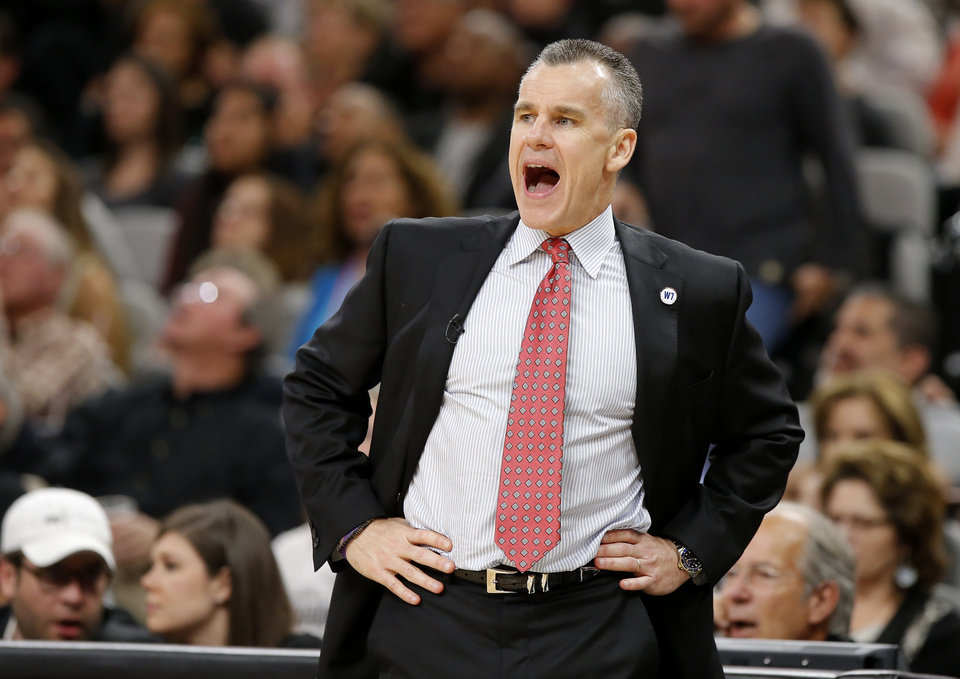 Photo - Oklahoma City coach Billy Donovan shouts during Game 2 of the second-round series between the Oklahoma City Thunder and the San Antonio Spurs in the NBA playoffs at the AT&T Center in San Antonio, Monday, May 2, 2016. Oklahoma City won 98-97. Photo by Bryan Terry, The Oklahoman