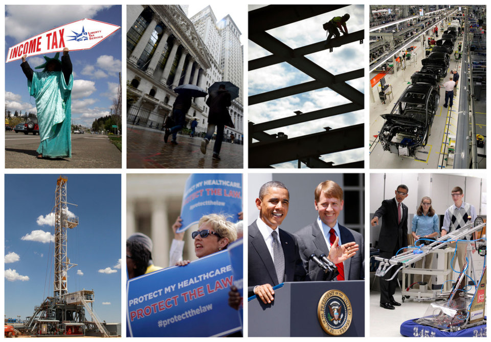 Photo -   This combination of Associated Press file photos shows some of the key economic sectors that could be impacted by America's decision to re-elect President Barack Obama over Republican presidential candidate, former Massachusetts Gov. Mitt Romney on Tuesday, Nov. 6, 2012. From health care law to the overhaul of financial rules,Obama has laid out some key themes for rejuvenating the economy. Upper-income Americans may face a tax increase, auto fuel economy standards might be raised, and stocks of construction and engineering companies could benefit. (AP Photos/File)