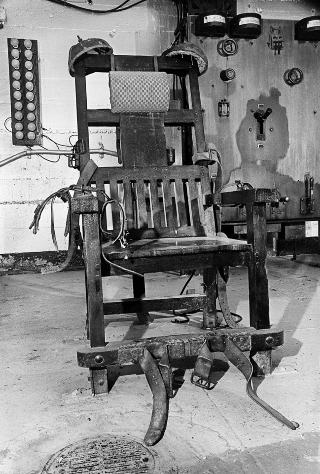 "Photo -  The Oklahoma State Penitentiary's electric chair — known as ""Old Sparky"" — was used in the executions of 82 condemned inmates from 1915 to 1966 at the prison in McAlester. [PHOTO BY PAUL B. SOUTHERLAND, THE OKLAHOMAN]"